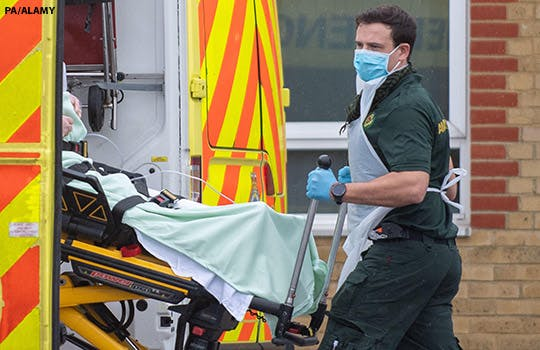 A patient is transferred to hospital in Essex, England