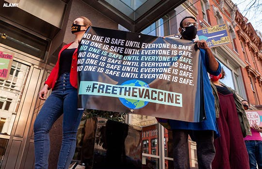 A protest for a covid-19 vaccine waiver