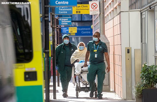 A patient arrives at an NHS hospital